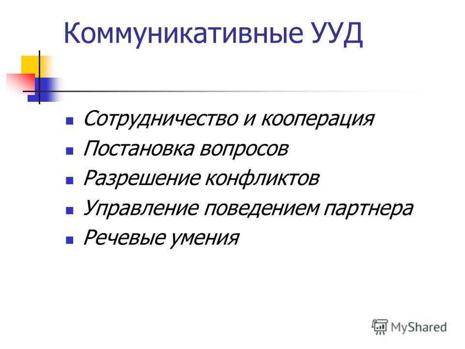 Коммуникативные УУД Сотрудничество и кооперация Постановка вопросов Разрешение конфликтов Управление поведением партнера Речевые умения