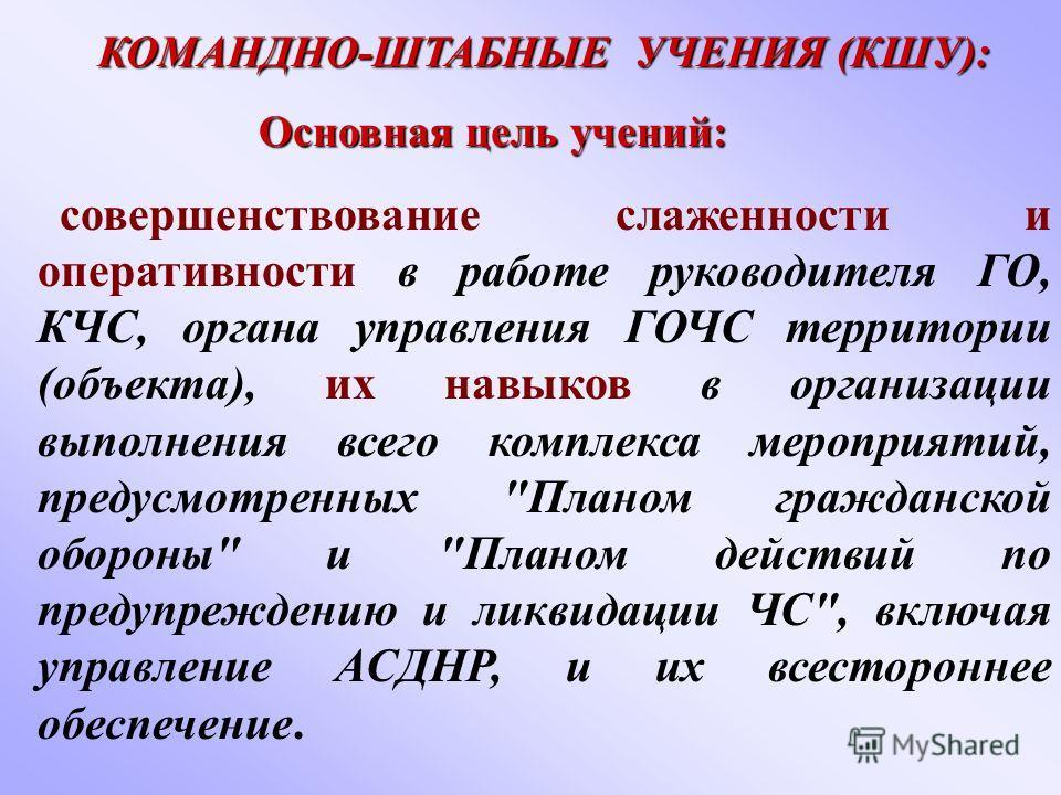 КОМАНДНО-ШТАБНЫЕ УЧЕНИЯ (КШУ):