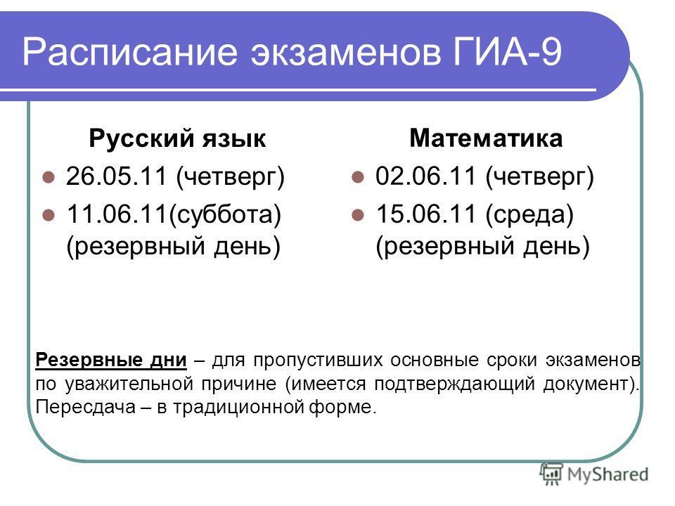 Расписание экзаменов ГИА-9 Русский язык 26.05.11 (четверг) 11.06.11(суббота) (резервный день) Математика 02.06.11 (четверг) 15.06.11 (среда) (резервный день) Резервные дни – для пропустивших основные сроки экзаменов по уважительной причине (имеется п