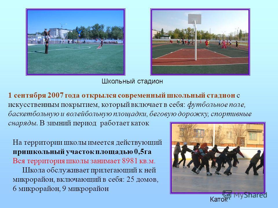 1 сентября 2007 года открылся современный школьный стадион с искусственным покрытием, который включает в себя: футбольное поле, баскетбольную и волейбольную площадки, беговую дорожку, спортивные снаряды. В зимний период работает каток Школьный стадио