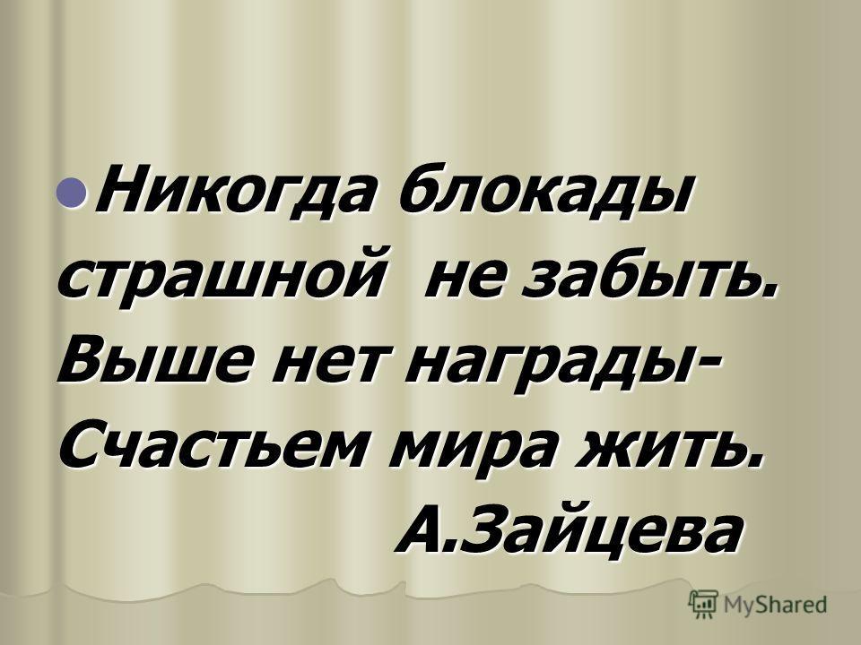 Никогда блокады страшной не забыть. Выше нет награды- Счастьем мира жить. А.Зайцева