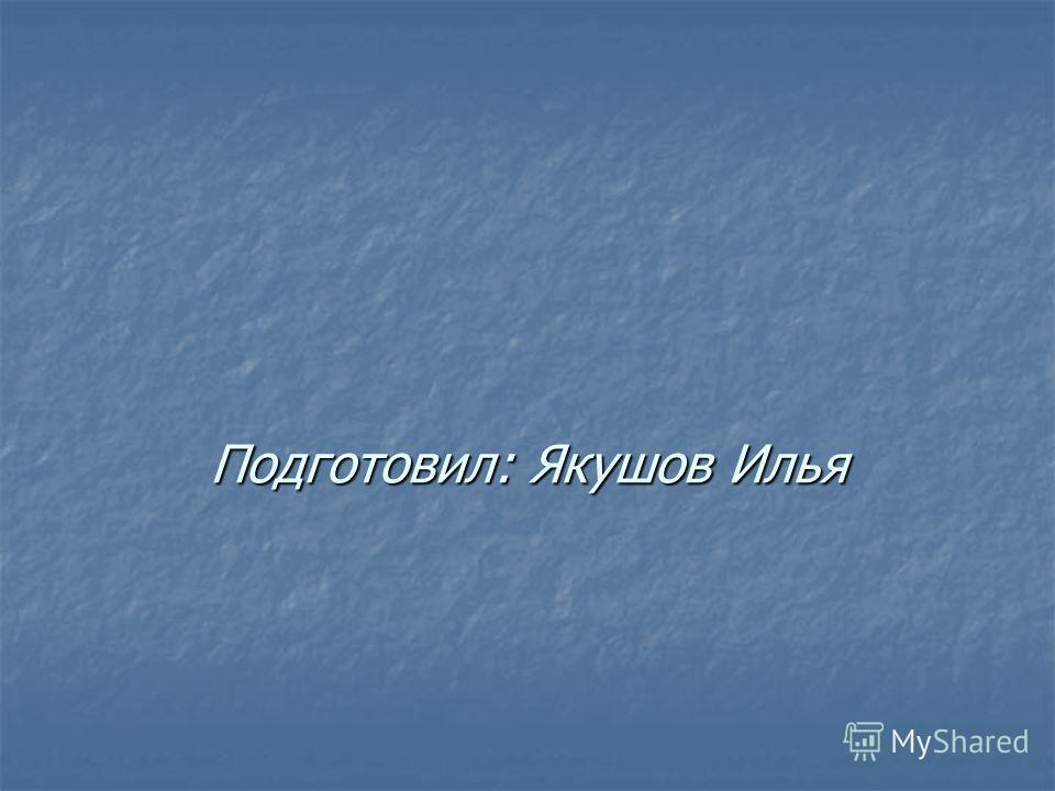 Подготовил: Якушов Илья