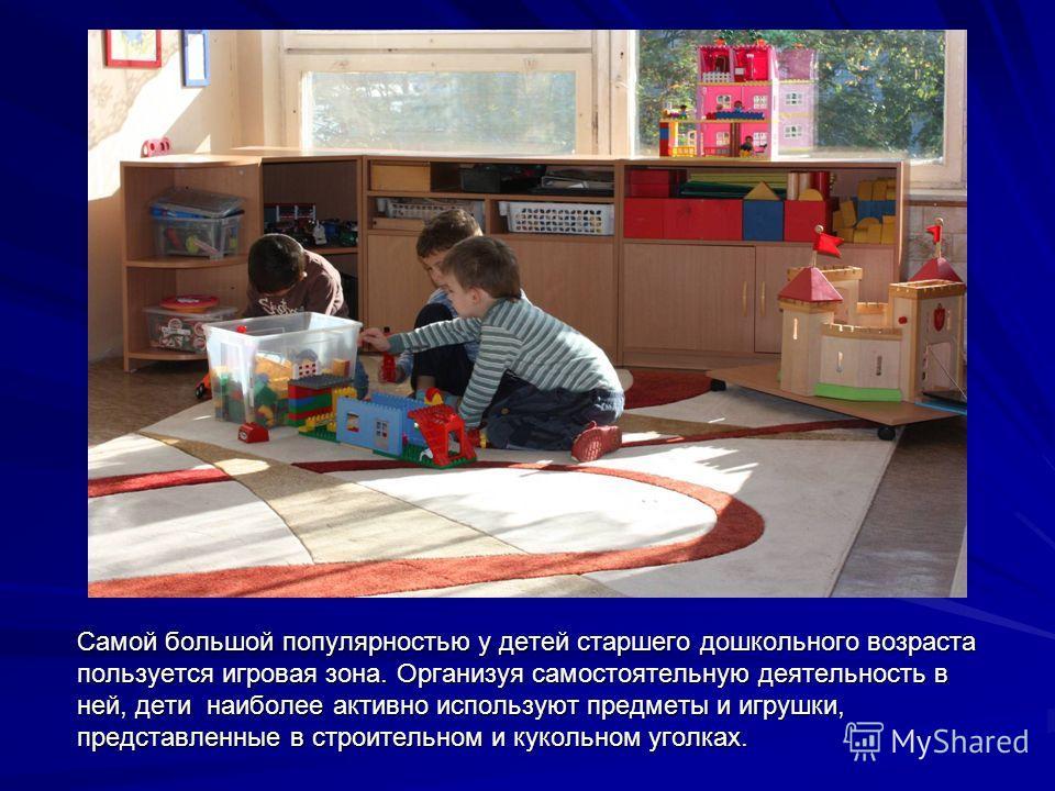 Самой большой популярностью у детей старшего дошкольного возраста пользуется игровая зона. Организуя самостоятельную деятельность в ней, дети наиболее активно используют предметы и игрушки, представленные в строительном и кукольном уголках.