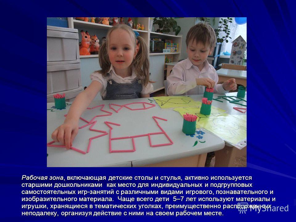 Рабочая зона, включающая детские столы и стулья, активно используется старшими дошкольниками как место для индивидуальных и подгрупповых самостоятельных игр-занятий с различными видами игрового, познавательного и изобразительного материала. Чаще всег