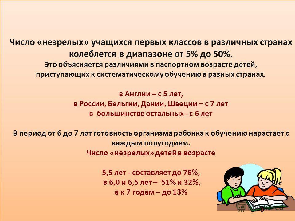 Число «незрелых» учащихся первых классов в различных странах колеблется в диапазоне от 5% до 50%. Это объясняется различиями в паспортном возрасте детей, приступающих к систематическому обучению в разных странах. в Англии – с 5 лет, в России, Бельгии