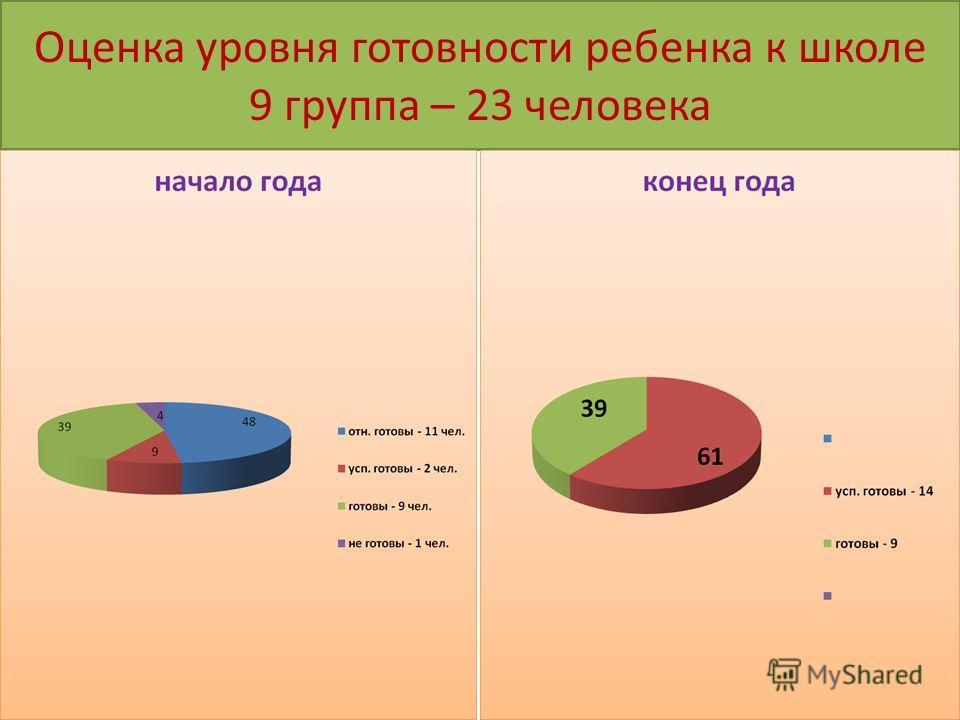 Оценка уровня готовности ребенка к школе 9 группа – 23 человека