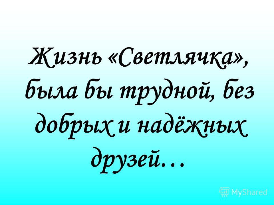 Жизнь «Светлячка», была бы трудной, без добрых и надёжных друзей…