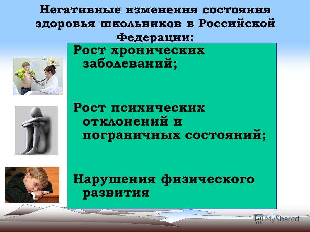 Негативные изменения состояния здоровья школьников в Российской Федерации: Рост хронических заболеваний; Рост психических отклонений и пограничных состояний; Нарушения физического развития
