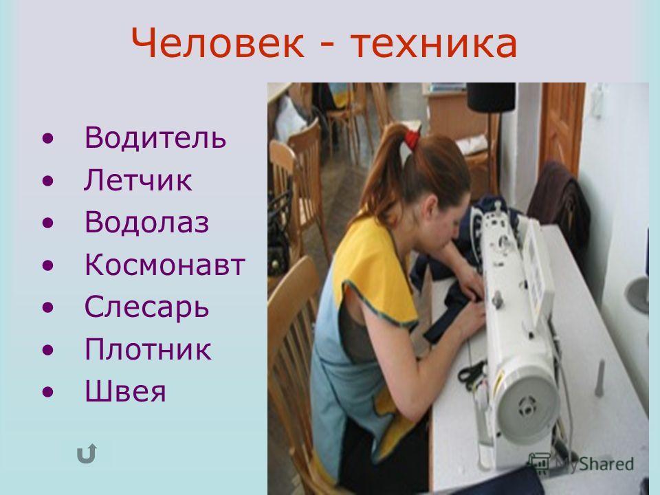 Водитель Летчик Водолаз Космонавт Слесарь Плотник Швея Человек - техника