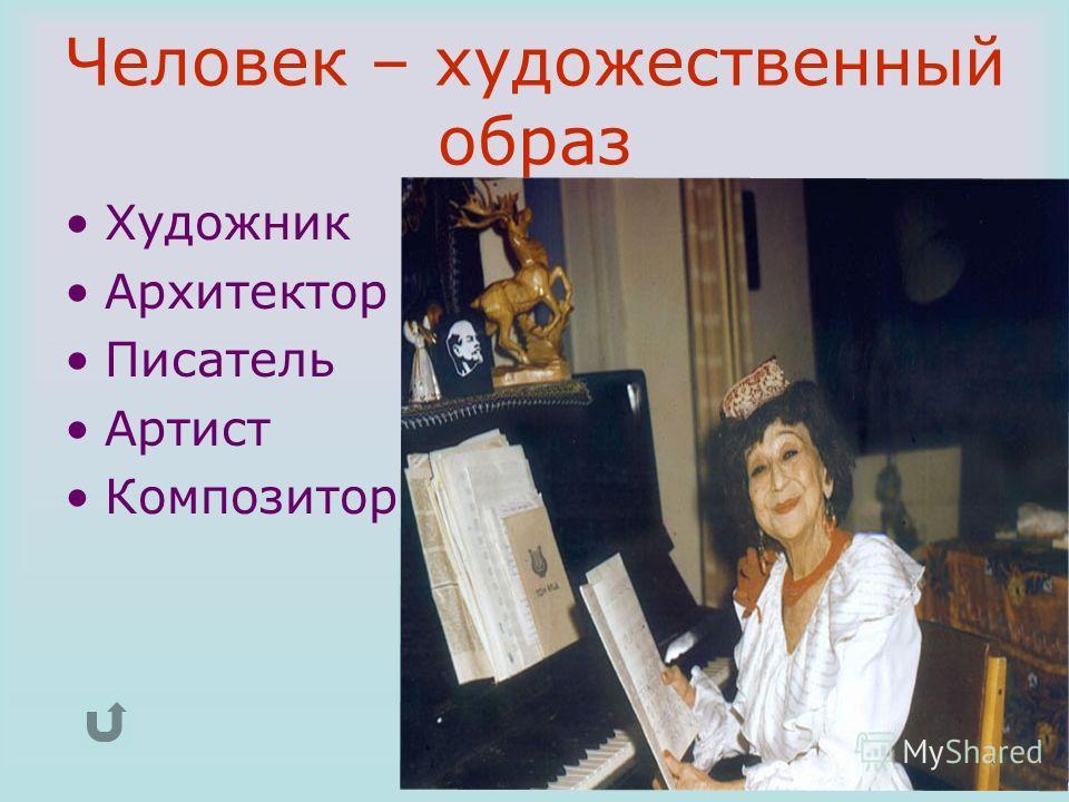 Человек – художественный образ Художник Архитектор Писатель Артист Композитор