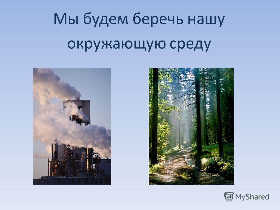 Мы будем беречь нашу окружающую среду