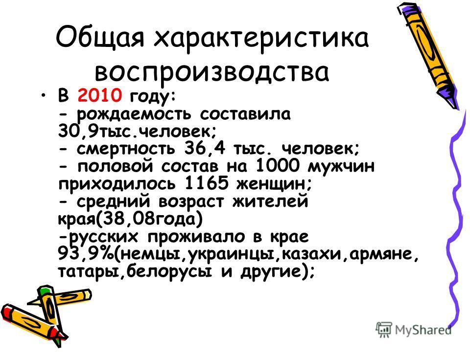 Общая характеристика воспроизводства В 2010 году: - рождаемость составила 30,9тыс.человек; - смертность 36,4 тыс. человек; - половой состав на 1000 мужчин приходилось 1165 женщин; - средний возраст жителей края(38,08года) -русских проживало в крае 93