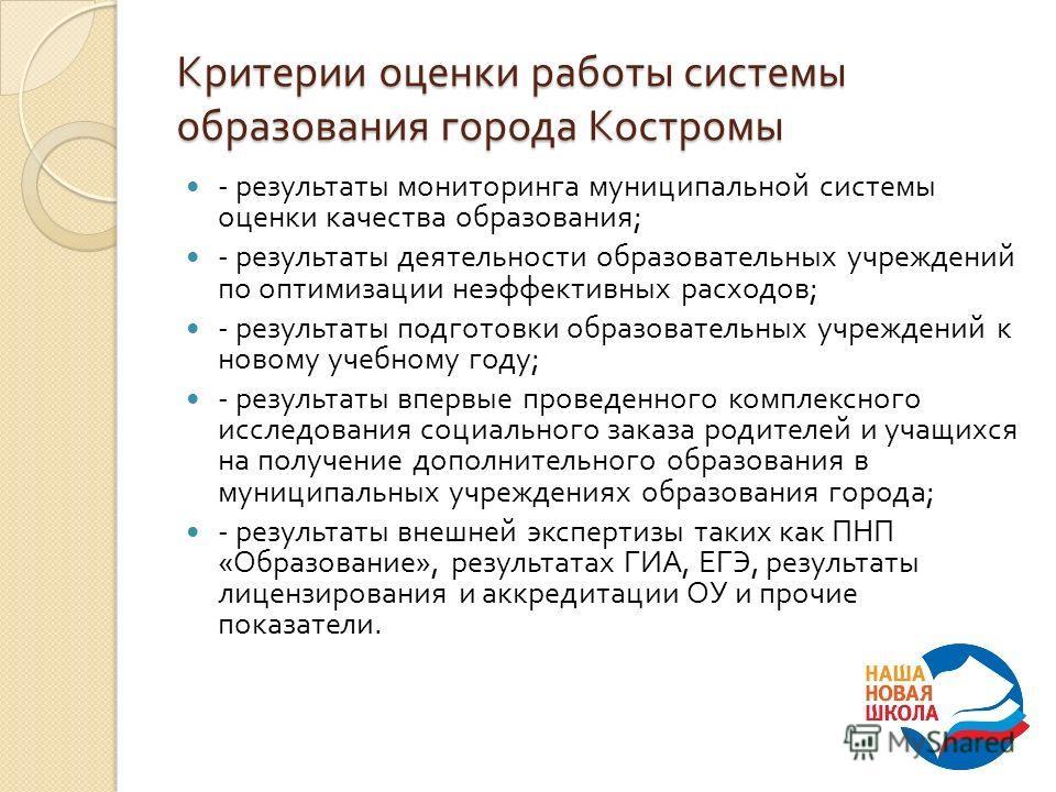 Критерии оценки работы системы образования города Костромы - результаты мониторинга муниципальной системы оценки качества образования ; - результаты деятельности образовательных учреждений по оптимизации неэффективных расходов ; - результаты подготов