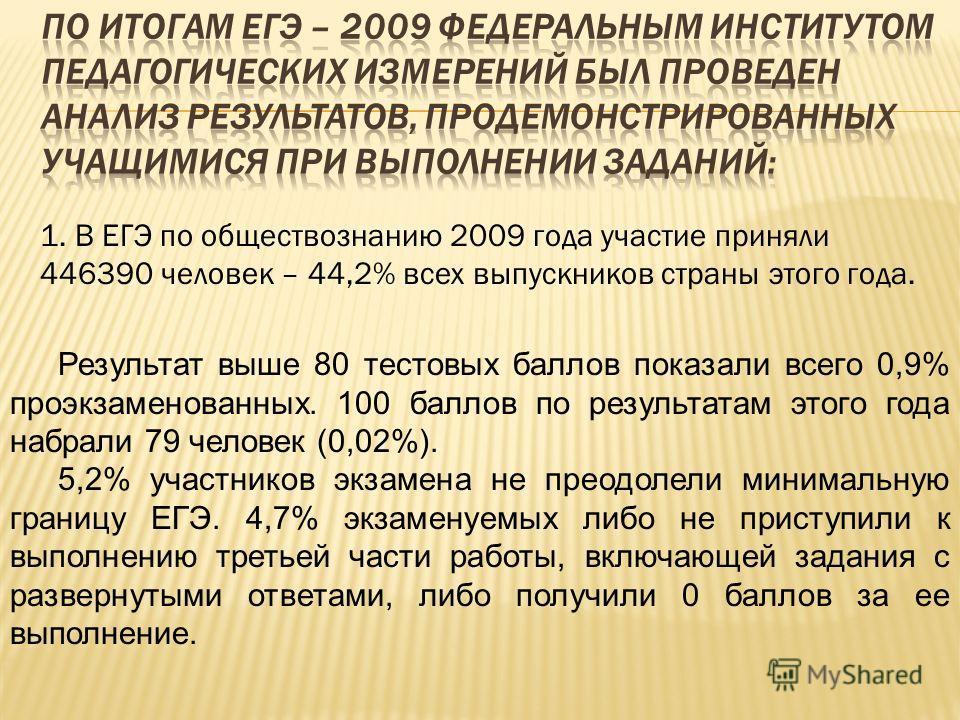1. В ЕГЭ по обществознанию 2009 года участие приняли 446390 человек – 44,2% всех выпускников страны этого года. Результат выше 80 тестовых баллов показали всего 0,9% проэкзаменованных. 100 баллов по результатам этого года набрали 79 человек (0,02%).