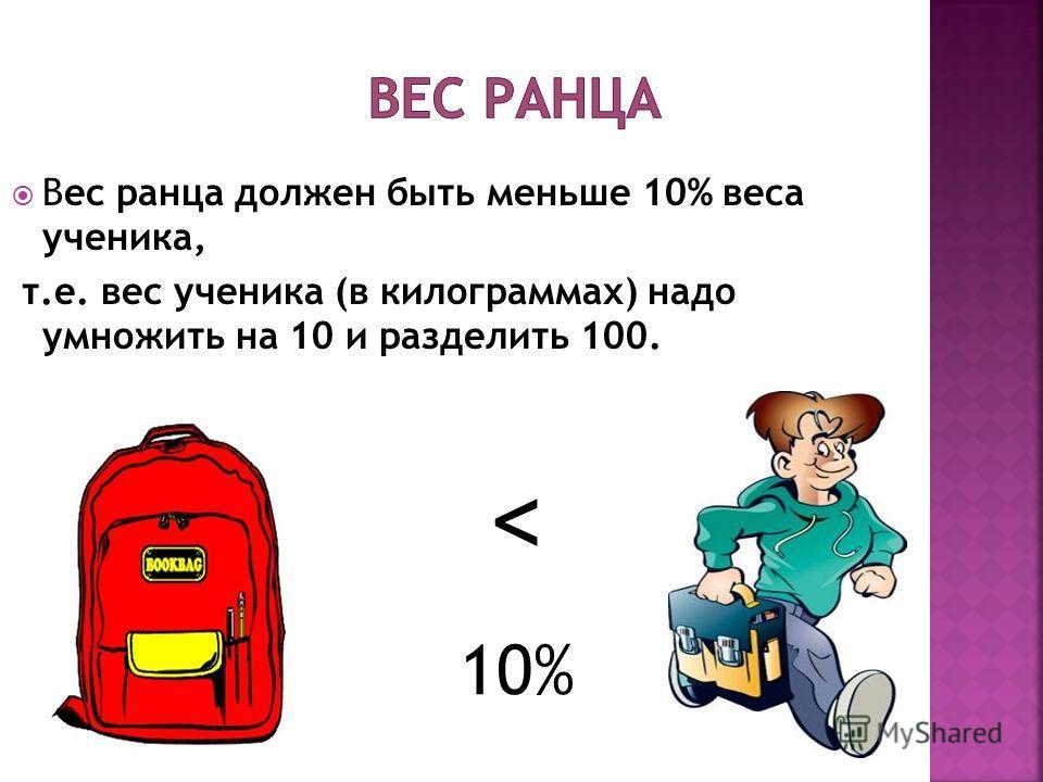 Вес ранца должен быть меньше 10% веса ученика, т.е. вес ученика (в килограммах) надо умножить на 10 и разделить 100. < 10%