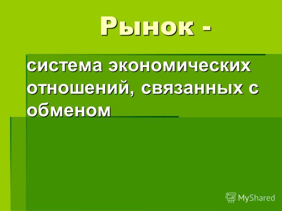 Рынок - система экономических отношений, связанных с обменом