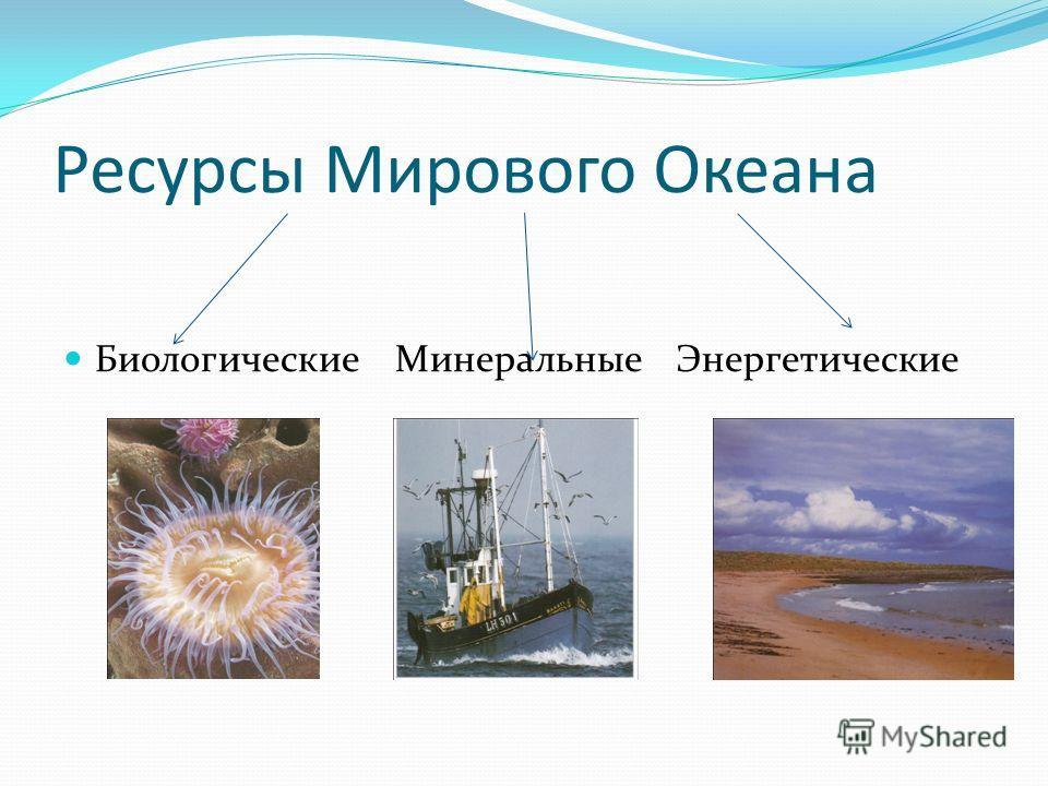 Ресурсы Мирового Океана Биологические Минеральные Энергетические