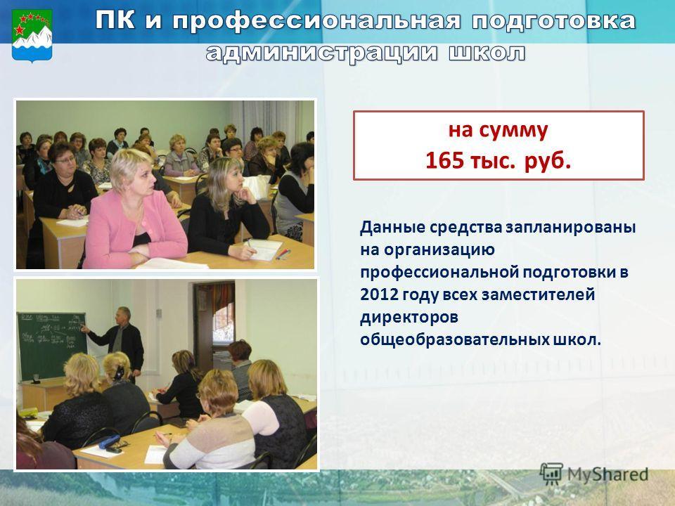 Данные средства запланированы на организацию профессиональной подготовки в 2012 году всех заместителей директоров общеобразовательных школ. на сумму 165 тыс. руб.