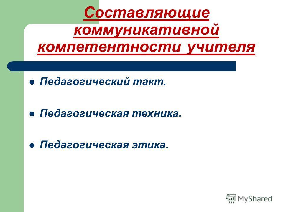 Составляющие коммуникативной компетентности учителя Педагогический такт. Педагогическая техника. Педагогическая этика.