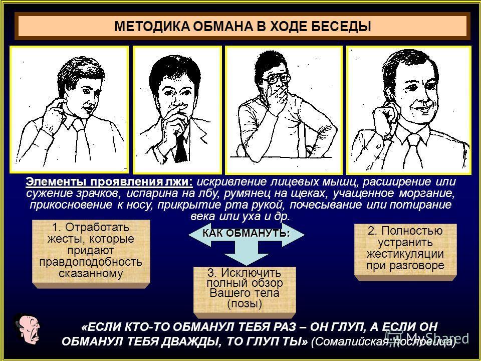 1. Отработать жесты, которые придают правдоподобность сказанному 3. Исключить полный обзор Вашего тела (позы) 2. Полностью устранить жестикуляции при разговоре Элементы проявления лжи: Элементы проявления лжи: искривление лицевых мышц, расширение или