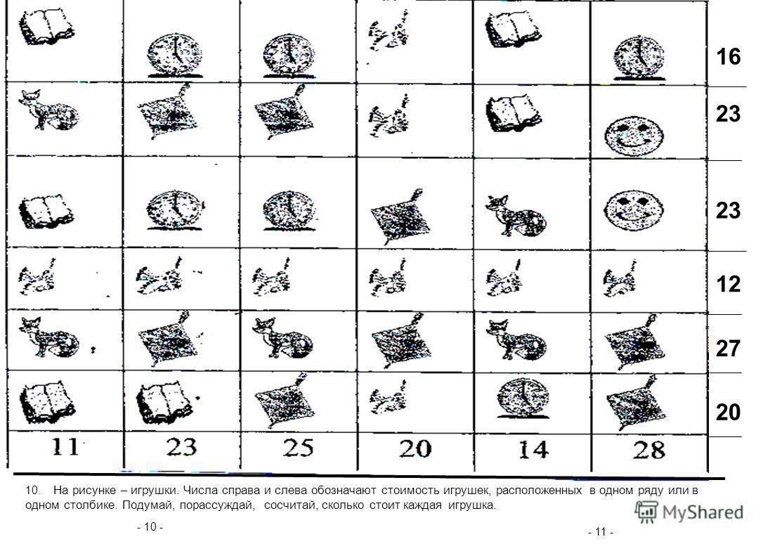 - 10 - - 11 - 10. На рисунке – игрушки. Числа справа и слева обозначают стоимость игрушек, расположенных в одном ряду или в одном столбике. Подумай, порассуждай, сосчитай, сколько стоит каждая игрушка. 16 23 12 27 20 23