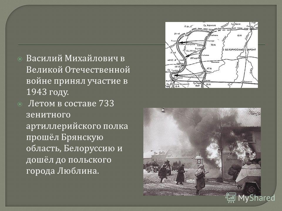 Василий Михайлович в Великой Отечественной войне принял участие в 1943 году. Летом в составе 733 зенитного артиллерийского полка прошёл Брянскую область, Белоруссию и дошёл до польского города Люблина.