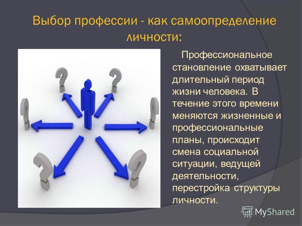 Выбор профессии - как самоопределение личности: Профессиональное становление охватывает длительный период жизни человека. В течение этого времени меняются жизненные и профессиональные планы, происходит смена социальной ситуации, ведущей деятельности,