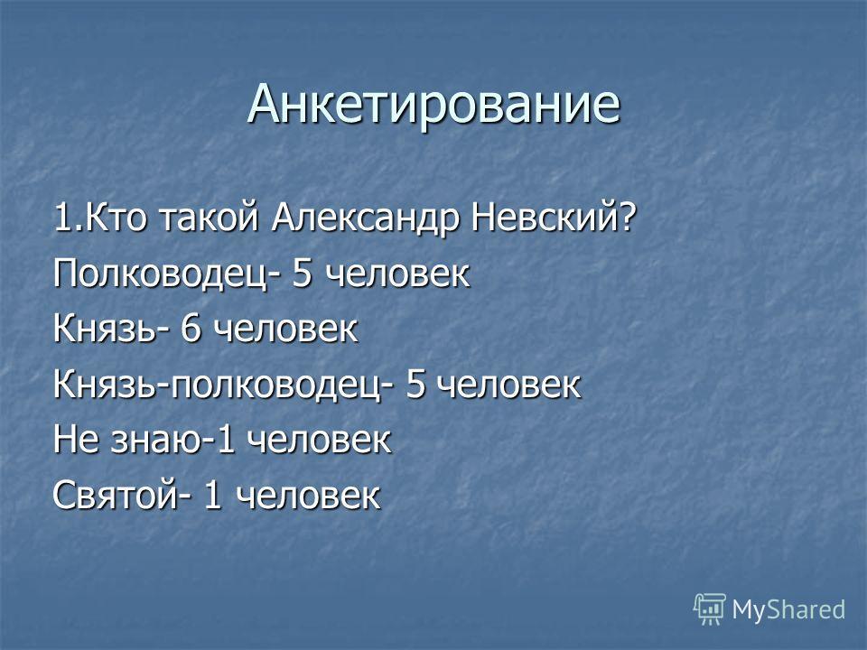 Анкетирование 1.Кто такой Александр Невский? Полководец- 5 человек Князь- 6 человек Князь-полководец- 5 человек Не знаю-1 человек Святой- 1 человек