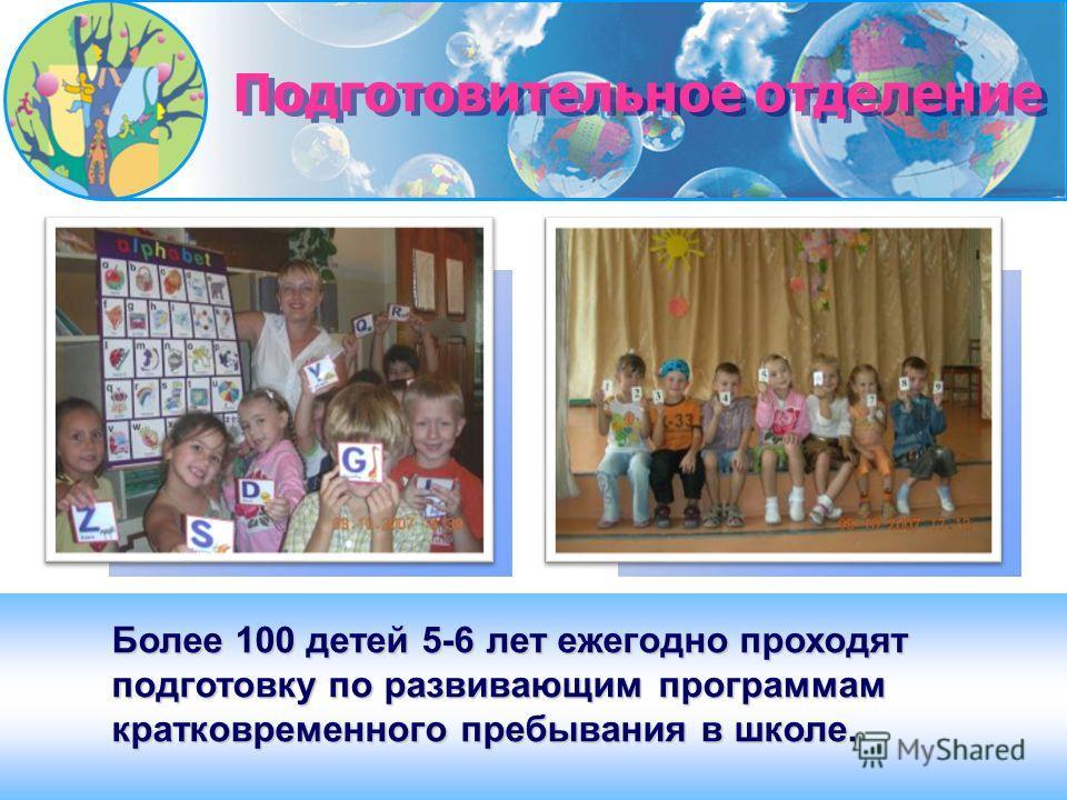 Более 100 детей 5-6 лет ежегодно проходят подготовку по развивающим программам кратковременного пребывания в школе. Подготовительное отделение