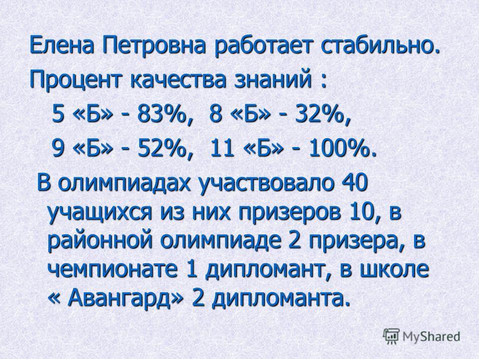 Елена Петровна работает стабильно. Процент качества знаний : 5 «Б» - 83%, 8 «Б» - 32%, 5 «Б» - 83%, 8 «Б» - 32%, 9 «Б» - 52%, 11 «Б» - 100%. 9 «Б» - 52%, 11 «Б» - 100%. В олимпиадах участвовало 40 учащихся из них призеров 10, в районной олимпиаде 2 п