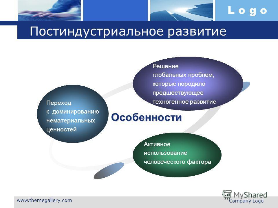 L o g o www.themegallery.com Company Logo Постиндустриальное развитие Переход к доминированию нематериальных ценностей Решение глобальных проблем, которые породило предшествующее техногенное развитие Активное использование человеческого фактора Особе