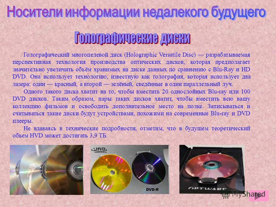 holographic versatile disc Besides optware, there are several other companies racing to get their consumer-friendly holographic storage system to market one product in the running is inphase technologies' tapestry(tm) disc, which could be on shelves as early as november 2006.