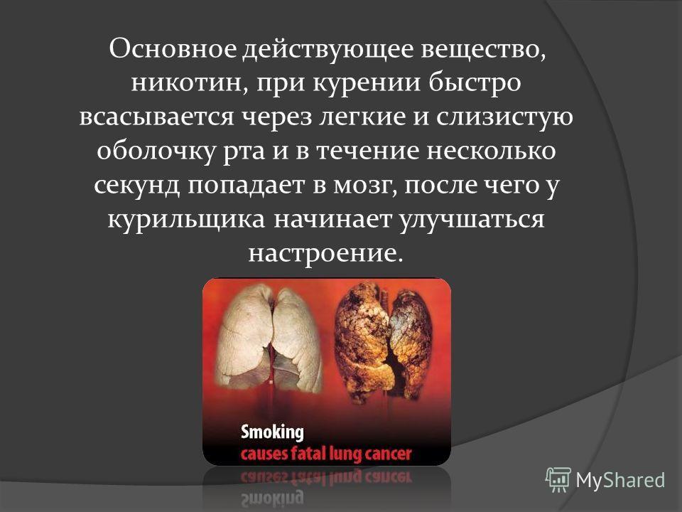 Основное действующее вещество, никотин, при курении быстро всасывается через легкие и слизистую оболочку рта и в течение несколько секунд попадает в мозг, после чего у курильщика начинает улучшаться настроение.