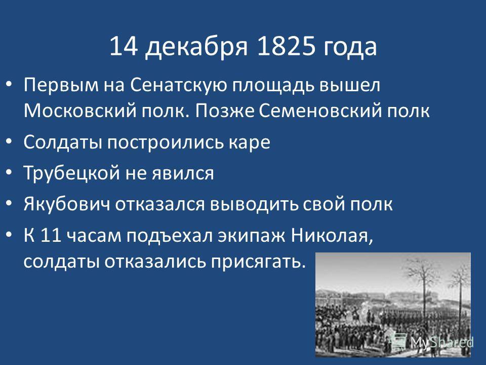 14 декабря 1825 года Первым на Сенатскую площадь вышел Московский полк. Позже Семеновский полк Солдаты построились каре Трубецкой не явился Якубович отказался выводить свой полк К 11 часам подъехал экипаж Николая, солдаты отказались присягать.