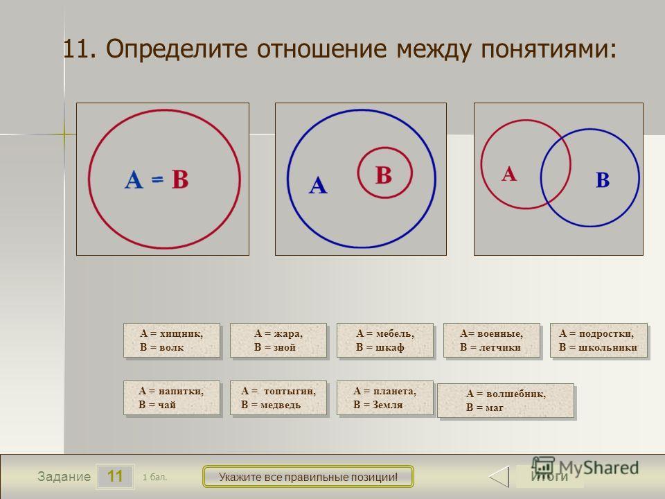 11 Задание Укажите все правильные позиции! 11. Определите отношение между понятиями: Итоги 1 бал. А = хищник, В = волк А = хищник, В = волк А = жара, В = зной А = жара, В = зной А = мебель, В = шкаф А = мебель, В = шкаф А= военные, В = летчики А= вое