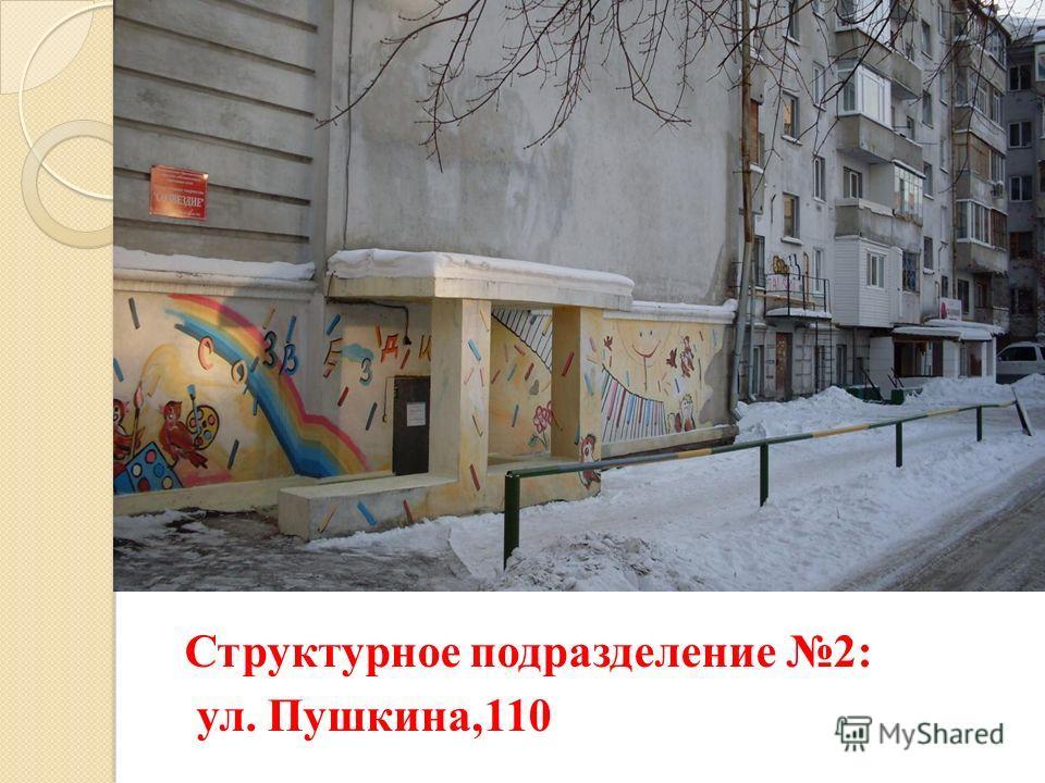 Структурное подразделение 2: ул. Пушкина,110