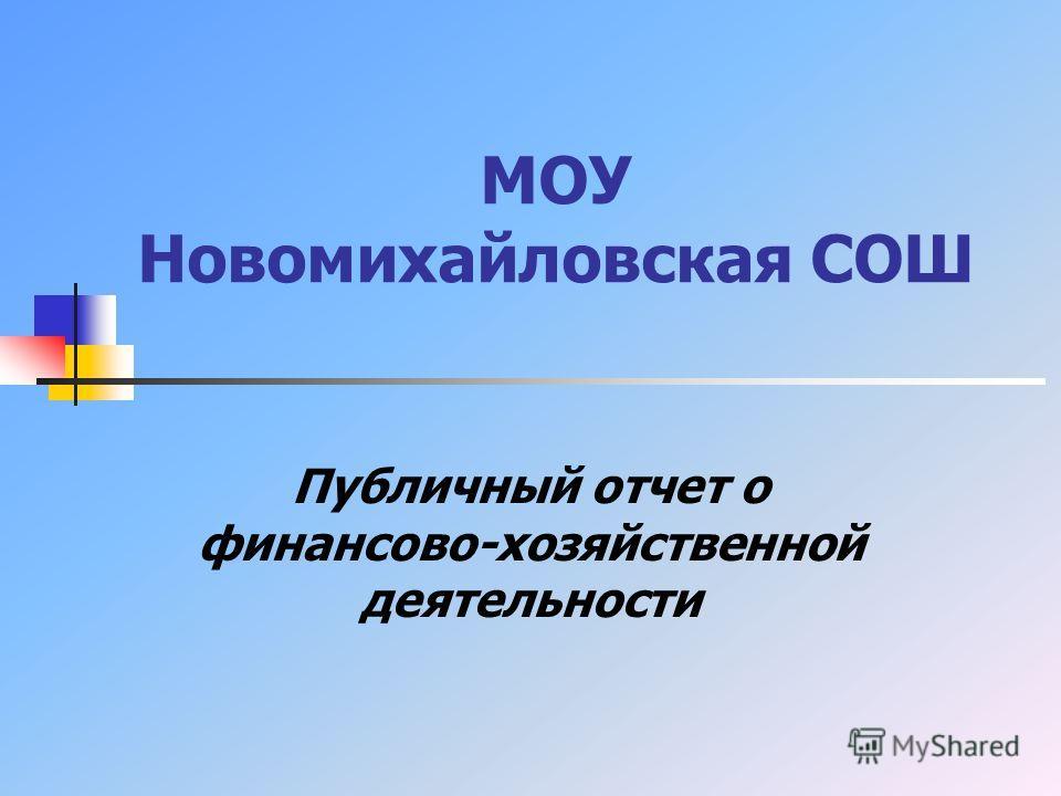 МОУ Новомихайловская СОШ Публичный отчет о финансово-хозяйственной деятельности