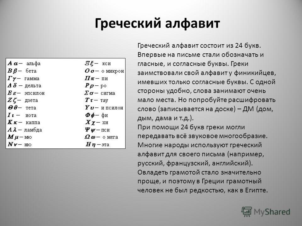 Греческий алфавит состоит из 24 букв. Впервые на письме стали обозначать и гласные, и согласные буквы. Греки заимствовали свой алфавит у финикийцев, имевших только согласные буквы. С одной стороны удобно, слова занимают очень мало места. Но попробуйт