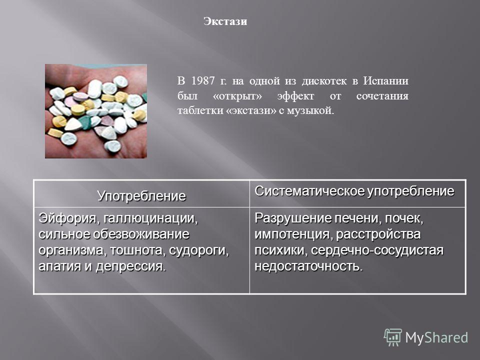 Экстази В 1987 г. на одной из дискотек в Испании был «открыт» эффект от сочетания таблетки «экстази» с музыкой.Употребление Систематическое употребление Эйфория, галлюцинации, сильное обезвоживание организма, тошнота, судороги, апатия и депрессия. Ра