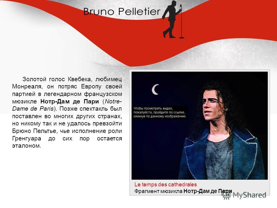 Золотой голос Квебека, любимец Монреаля, он потряс Европу своей партией в легендарном французском мюзикле Нотр-Дам де Пари (Notre- Dame de Paris). Позже спектакль был поставлен во многих других странах, но никому так и не удалось превзойти Брюно Пель