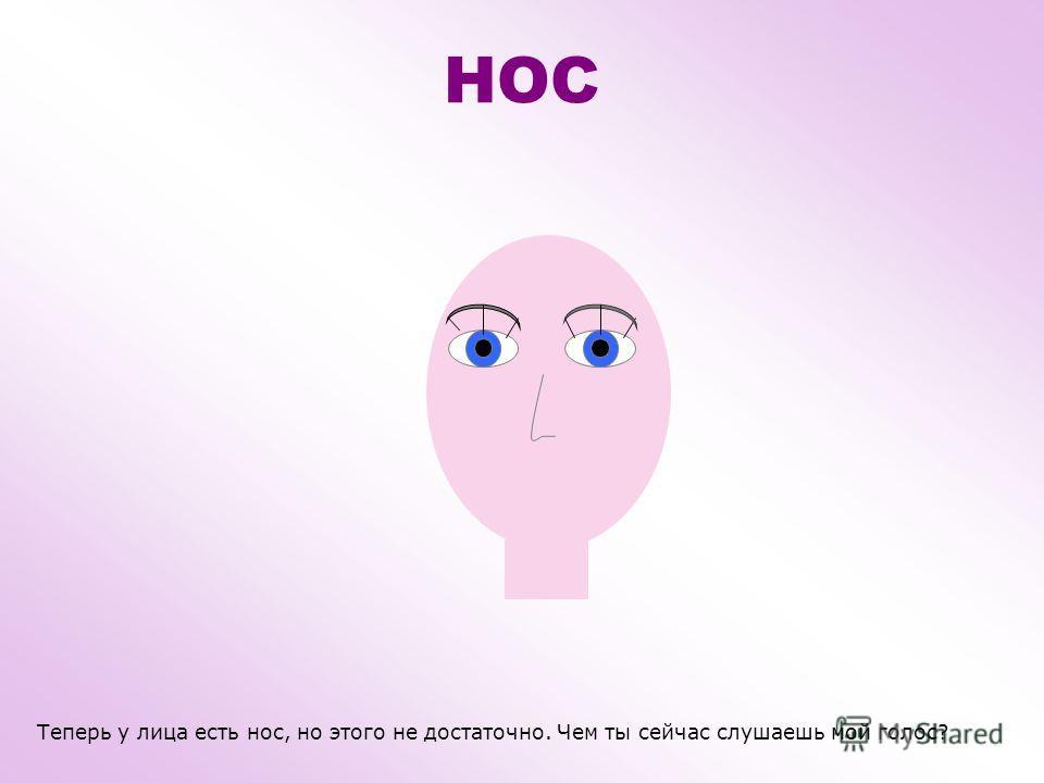 НОС Нос – очень важная часть лица, он находится посередине. Мы дышим носом – вдох и выдох. Через ноздри воздух попадает внутрь, а потом выходит обратно. При помощи носа мы различаем разные запахи. Когда простываем из носа капают сопли. НОЗДРЯ