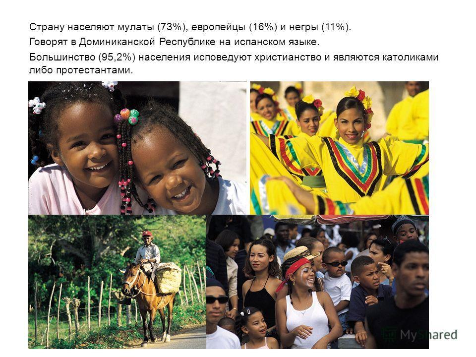 Страну населяют мулаты (73%), европейцы (16%) и негры (11%). Говорят в Доминиканской Республике на испанском языке. Большинство (95,2%) населения исповедуют христианство и являются католиками либо протестантами.