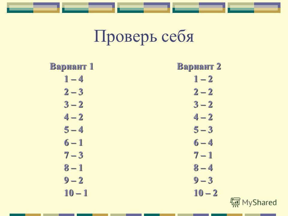 Проверь себя Вариант 1 Вариант 2 1 – 41 – 2 2 – 32 – 2 3 – 23 – 2 4 – 24 – 2 5 – 45 – 3 6 – 16 – 4 7 – 37 – 1 8 – 18 – 4 9 – 29 – 3 10 – 110 – 2