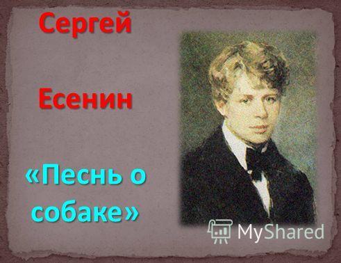 Сергей Есенин «Песнь о собаке»