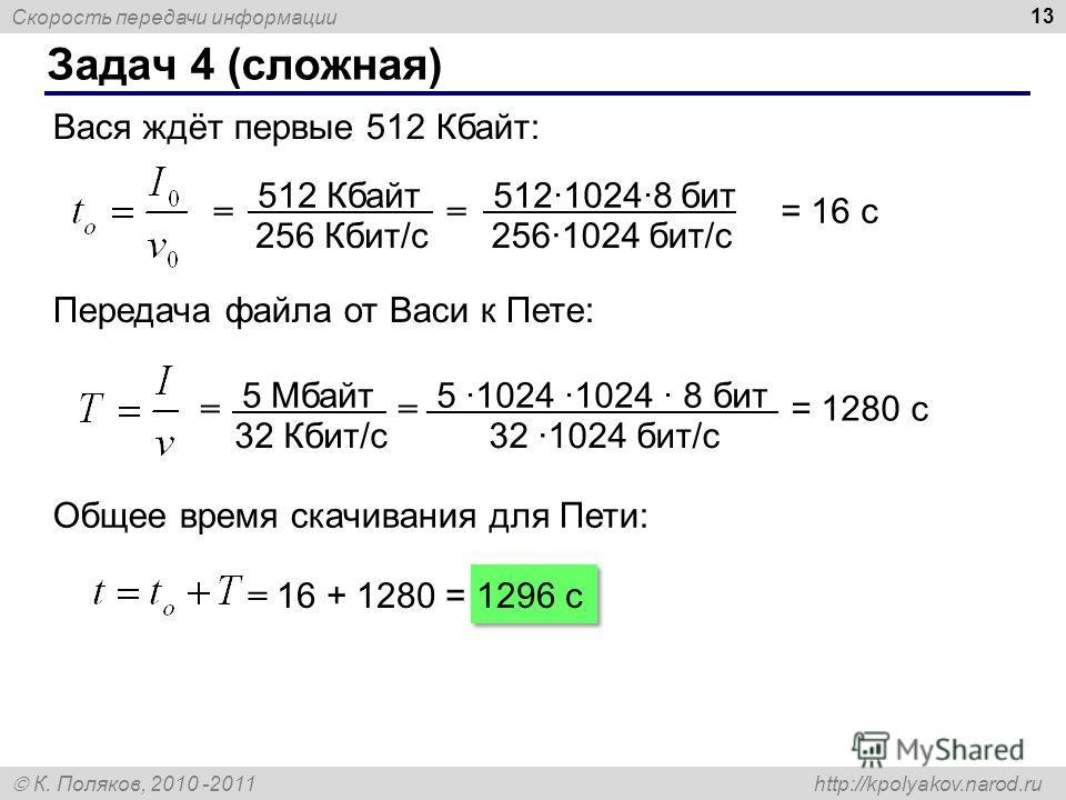 Скорость передачи информации К. Поляков, 2010 -2011 http://kpolyakov.narod.ru Задач 4 (сложная) 13 Вася ждёт первые 512 Кбайт: = = = 16 с 512 Кбайт 256 Кбит/с 51210248 бит 2561024 бит/с Передача файла от Васи к Пете: = = = 1280 с 5 Мбайт 32 Кбит/с 5