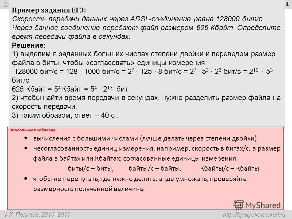 Скорость передачи информации К. Поляков, 2010 -2011 http://kpolyakov.narod.ru 14 Пример задания ЕГЭ: Скорость передачи данных через ADSL-соединение равна 128000 бит/c. Через данное соединение передают файл размером 625 Кбайт. Определите время передач