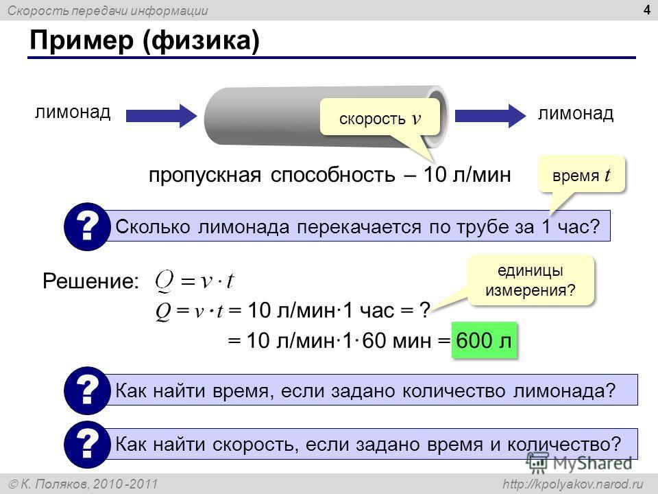 Скорость передачи информации К. Поляков, 2010 -2011 http://kpolyakov.narod.ru Пример (физика) 4 пропускная способность – 10 л/мин лимонад Сколько лимонада перекачается по трубе за 1 час? ? Решение: время t скорость v Q = v · t = 10 л/мин·1 час = ? ед