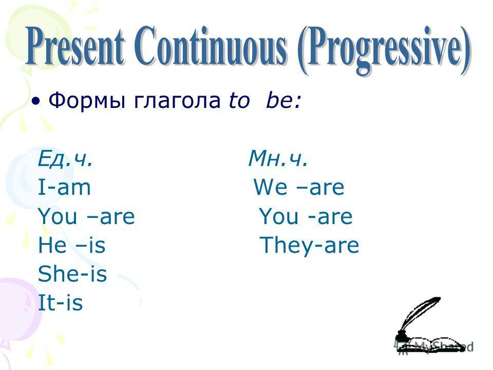 Формы глагола to be: Ед.ч. Мн.ч. I-am We –are You –are You -are He –is They-are She-is It-is