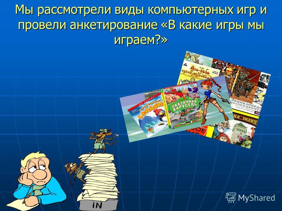 Мы рассмотрели виды компьютерных игр и провели анкетирование «В какие игры мы играем?»