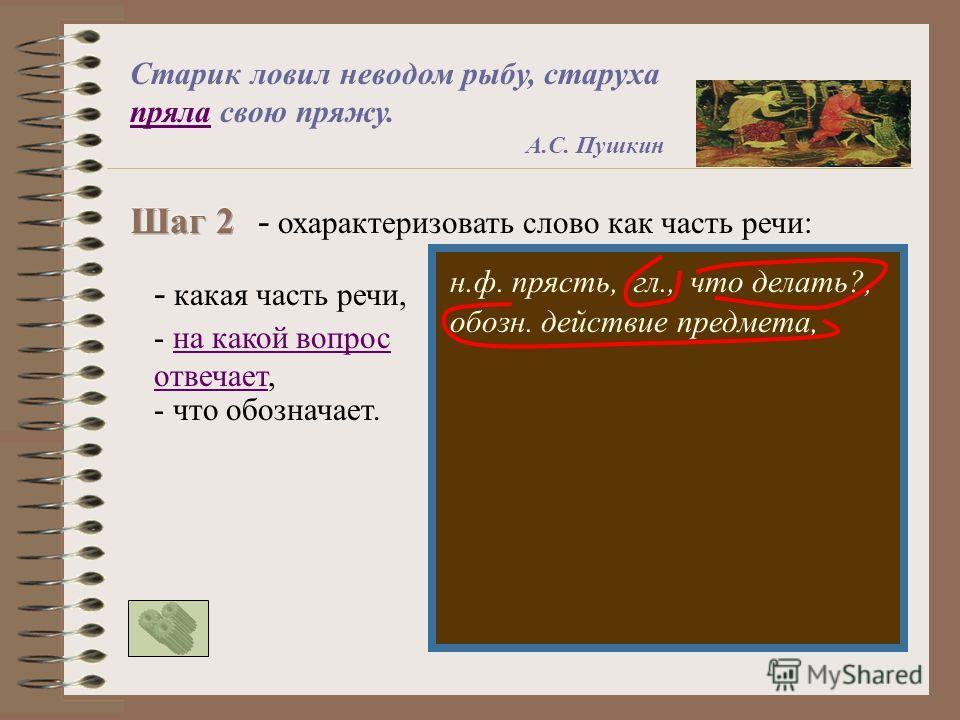 - охарактеризовать слово как часть речи: - какая часть речи, - на какой вопрос отвечает,на какой вопрос отвечает - что обозначает. н.ф. прясть,гл.,что делать?, обозн. действие предмета, Старик ловил неводом рыбу, старуха пряла свою пряжу. А.С. Пушкин